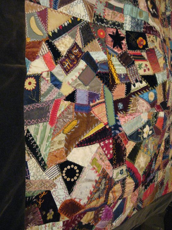 Crazy Quilt from 1871 to 1930 by KarensKleenKloset on Etsy.