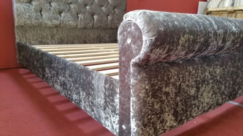 Best Sleigh Styled Crushed Velvet Diamante Bed Frame In Silver 640 x 480
