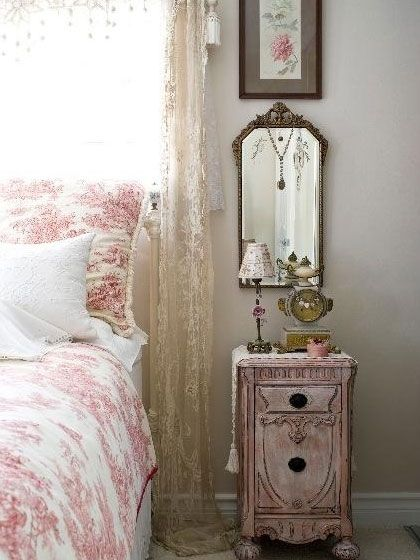 French country bedroom with romantic pink toile decor for French cottage bedroom ideas