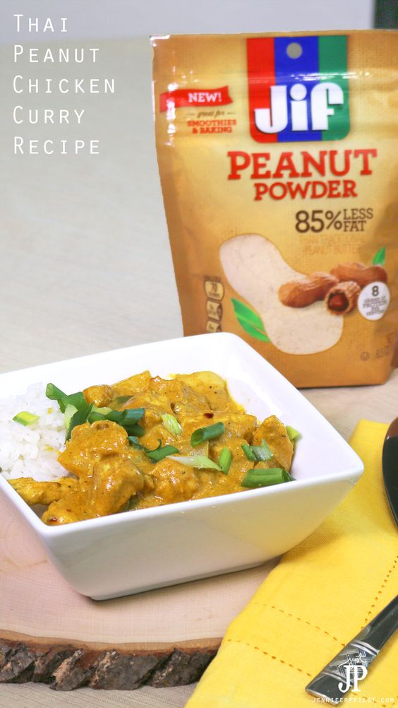 Make this Thai Peanut Chicken Curry for dinner tonight with Jif Peanut Powder! This recipe will make you forget about takeout. #StartWithJifPowder AD  http://www.jenniferppriest.com/thai-peanut-chicken-curry-recipe-with-jif/