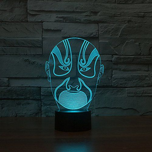 3d Mask Night Light Touch Switch Decor Table Desk Optical Illusion Lamps 7 Color Changing Lights Led Table Lamp Xma Night Light 3d Optical Illusions Touch Lamp