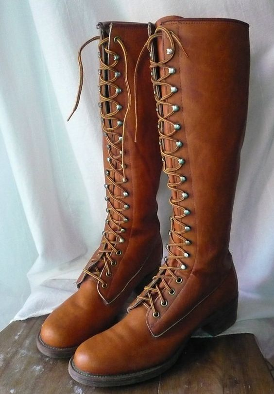 Vintage FRYE Tall Lace Up Boots Black Label - Size 10 Woman   Lace ...