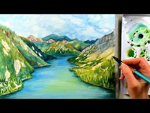 River And Mountain Landscape In Watercolors Beginner Watercolor