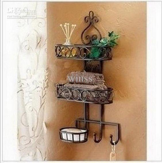 Wrought Iron Bathroom Wall Towel Shelf: Household Goods Receive Sanitary Toilet Wall Hanging Shelf