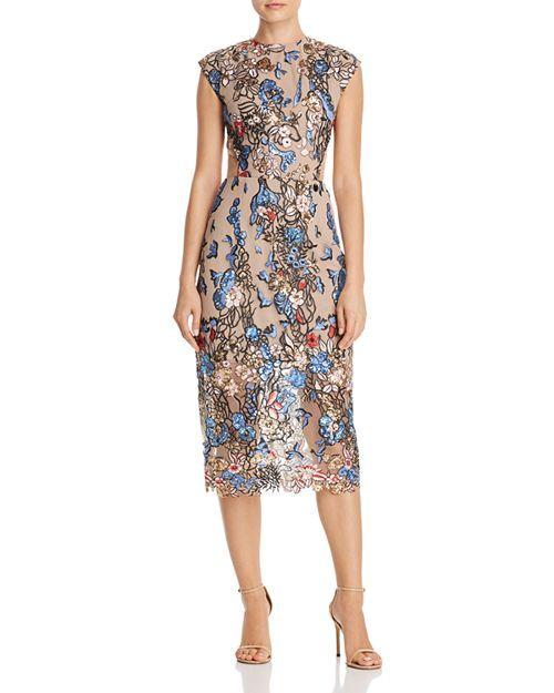 Bronx And Banco Bird Of Paradise Embellished Dress Printed Sheath Dresses Floral Print Midi Dress Dresses