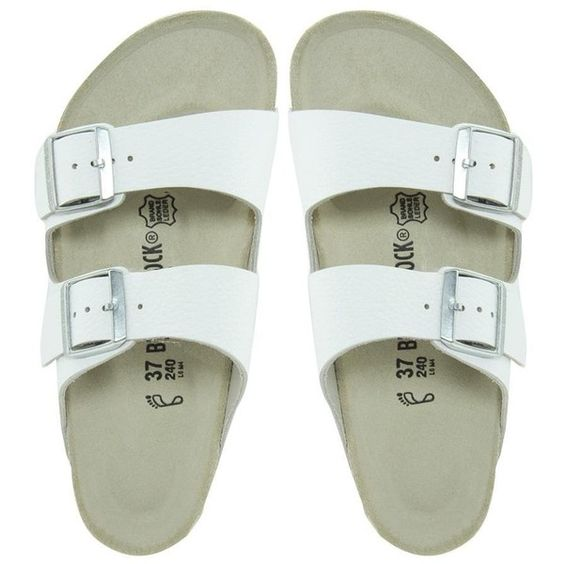 Birkenstock Arizona White Leather Two Strap Narrow Fit Sandals ($113) ❤ liked on Polyvore featuring shoes, sandals, flats, white, narrow sandals, birkenstock, white shoes, shock absorbing shoes and birkenstock sandals