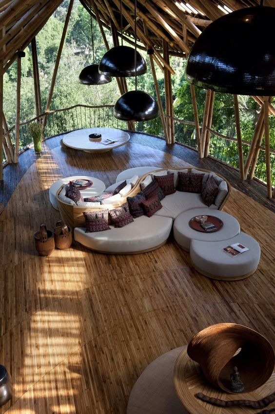 Bamboo Treehouse In Bali Is Pretty Much A Mansion In The Sky [ MexicanConnexionForTile.com ] #LivingRoom #Talavera #handmade: