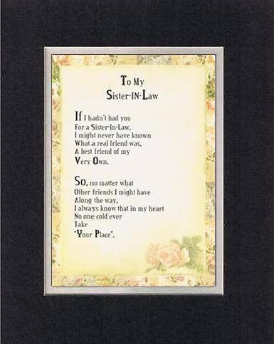 Wedding Gift For Older Brother : Touching and Heartfelt Poem for Sisters - To My Sister-in-Law Poem on ...