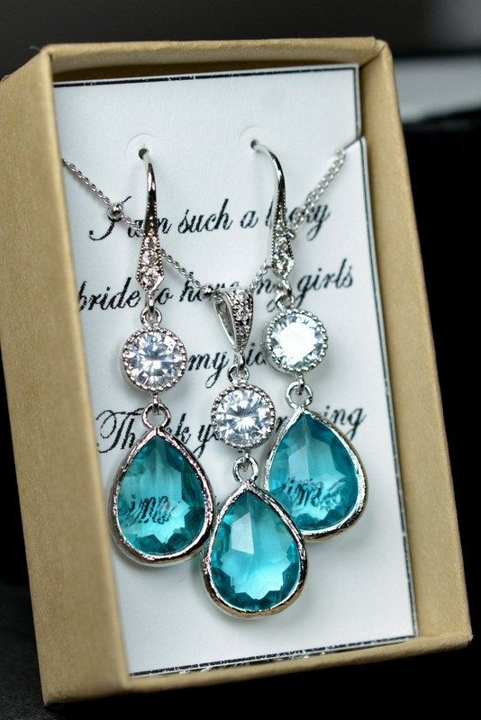 Wedding Gift For Bride Tiffany : Bridal Drop Bridal Jewelry Wedding Dangle Teal Blue Earrings Necklace ...