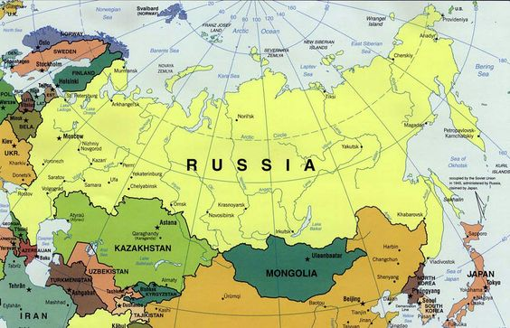 Map of Russia, where Catherine The Great ruled from 1762 to 1796.