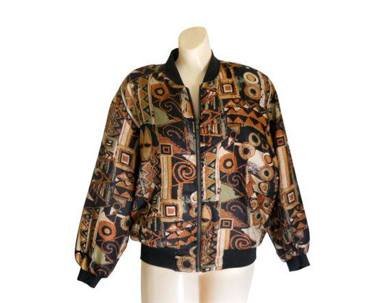 Silk Bomber Jacket 90s Bomber Jacket Women by #SecondhandObsessionVintage