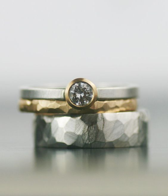 Gold wedding band set - matching engagement rings faceted, stacking wedding rings - his and hers his and his hers and hers - ecofriendly