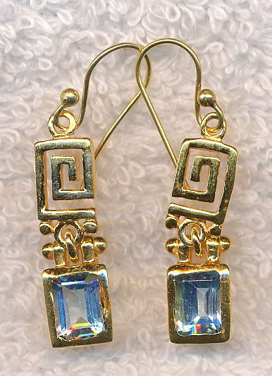 Celtic Spiral and Blue Topaz Gemstone Earrings, Gold Vermeil