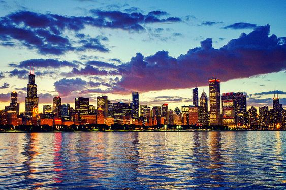 Joshua Mellin Chicago's skyline, all lit up in celebration of the Blackhawks' win.   ..rh