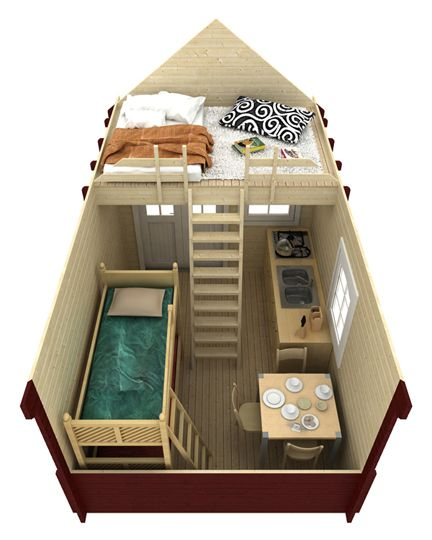 Bunkie design idea with kitchenette and a loft hang out space.