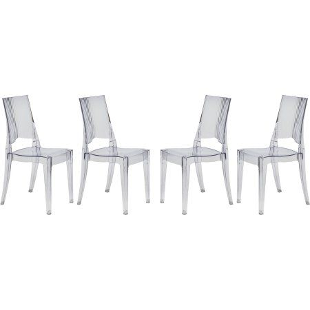 LeisureMod Modern Coral Transparent Dining Modern Chair, Set of 4, Clear