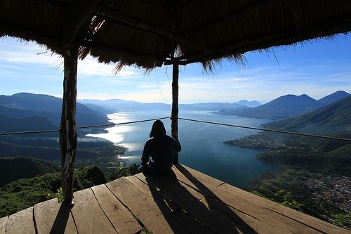 Looking down from Indian Nose to the spot just below where Jimmy asked me to marry him and I said yes, so the Mayan Sharman did it! Lago Atitlan, Guatemala