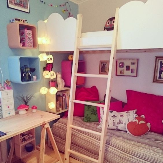 Girl's room with customized bunk beds.