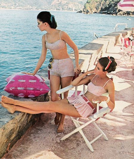 1968, Swimsuits. Love the bustier/skirted bottom number.