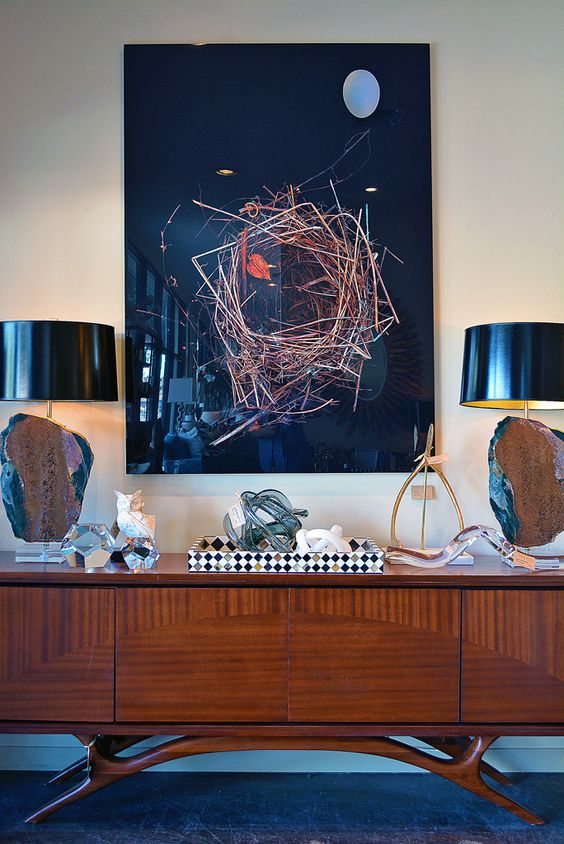 Buffet vignette with #abstract #art and #table #lamps at #Dallas #Mecox #interiordesign #MecoxGardens #furniture #shopping #home #decor #design #room #designidea #vintage #antiques #garden