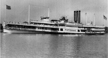 SS Potomac... an older, larger ship than the SS Mount Vernon. The Potomac made daily trips from the Seventh Street Warves to Colonial Beach Virginia in the 1940s.