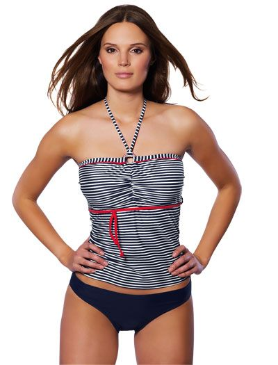 The Freya Paris Underwire Bandeau Tankini Top is a supportive swim top with a touch of Parisian glamour.