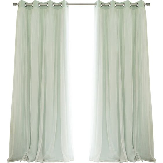 Lace Tulle Overlay Blackout Curtain Panel Reviews ($107) ❤ liked on Polyvore featuring home, home decor, window treatments, curtains, blackout drapery, lace curtain panels, blackout window coverings, black out window panels and lace curtains