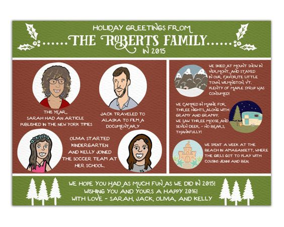 Custom Illustrated Family Christmas Card Featuring Custom Illustrations and The Story of Your Year