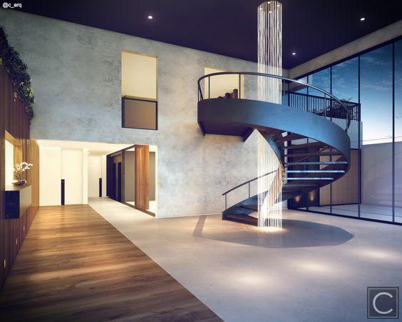 Neste Lobby Concierge a escada helicoidal ganha destaque de escultura! Projeto Line UP - Campo Belo