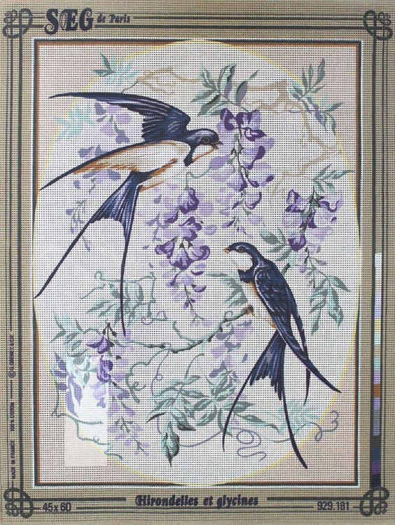 SEG de Paris 929.181 Les Hirondelles et les Glycines Swallows and Flowers #SEGdeParis