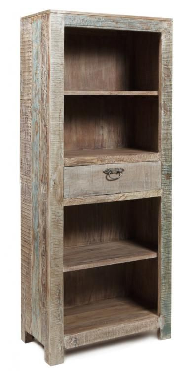 Cokas diko recycled teak 1 drawer bookcase diy pallet for Reclaimed wood bookcase diy