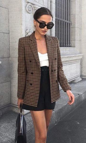 Look Blazer Xadrez + Short Alfaiataria Cintura Alta