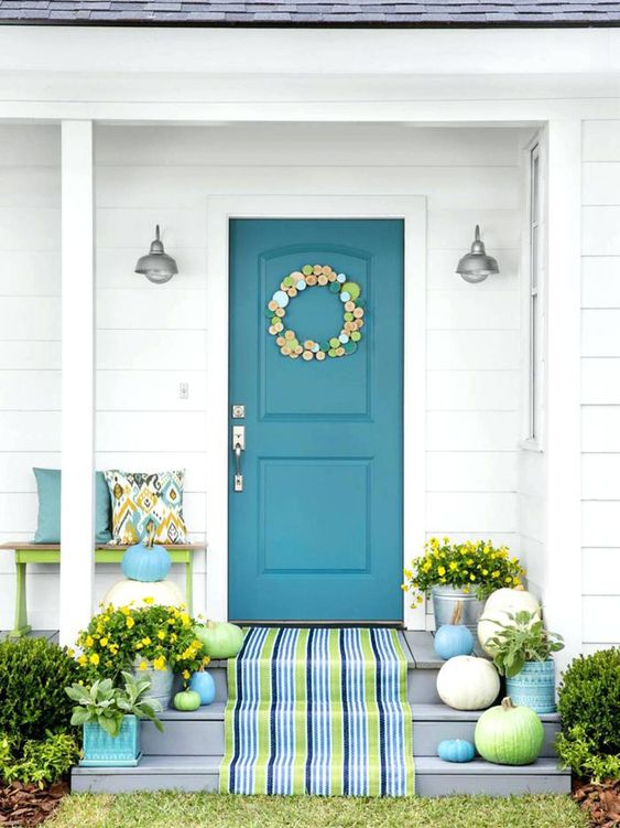 Image result for blue front door tan house