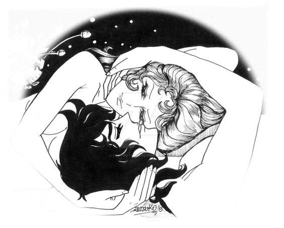 """Nuevamente inspirándome en mi pareja favorita, André y Oscar del manga """"La Rosa de Versalles"""", sobre todo cuando se acerca el 14 de febrero. Dibujados con tiralíneas 0,1-0,5 y 0,7 mm y marcador negro."""