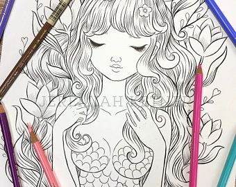 Etsy Your Place To Buy And Sell All Things Handmade Coloring Pages Cute Mermaid Kitty Coloring