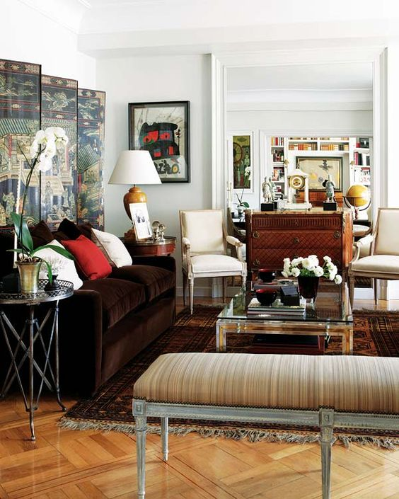 Living Room Home Decorating Ideas Brown Tan Beige Red Wall Screen Bench Decor