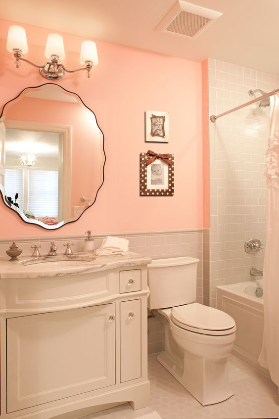Beautiful Light Pink And Gray Bathroom And Beveled Vanity For A Girls Bathroom Bathrooms