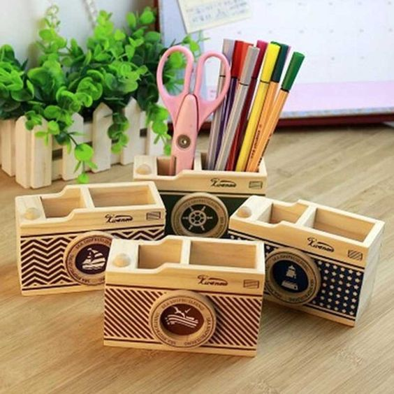 Camera Wooden Stationery Holder