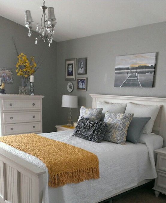 cool gray and yellow bedroom
