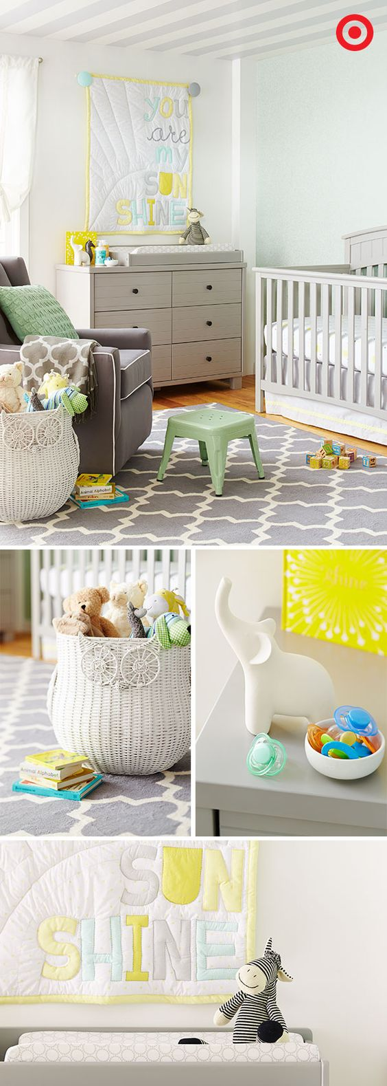 Keeping Baby's gender a surprise? Decorate the nursery in neutral colors so it works perfectly for a boy or girl. The Circo You Are My Sunshine Crib Bedding Set features soft grays, greens and yellows, and has a sweet little sunshine on each piece. The white owl basket, ceramic elephant and mini bowl are cute, useful pieces to store all the necessities, from toys and blankets to pacifiers and more.: