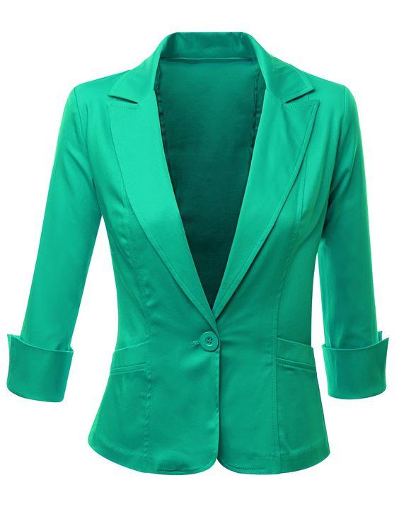 Doublju Women Plus size 3/4 Sleeve Cotton Satin Spandex Fabric Peaked Collar Blazer Mint