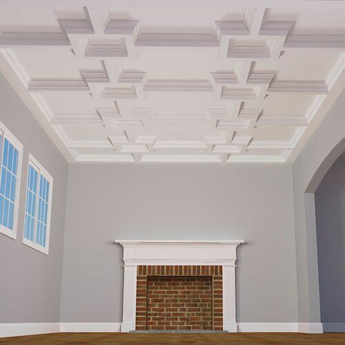 Icon Coffer 2 Ft X 2 Ft Pvc Drop In Ceiling Tile In White Coffered Ceiling Ekena Millwork Ceiling System