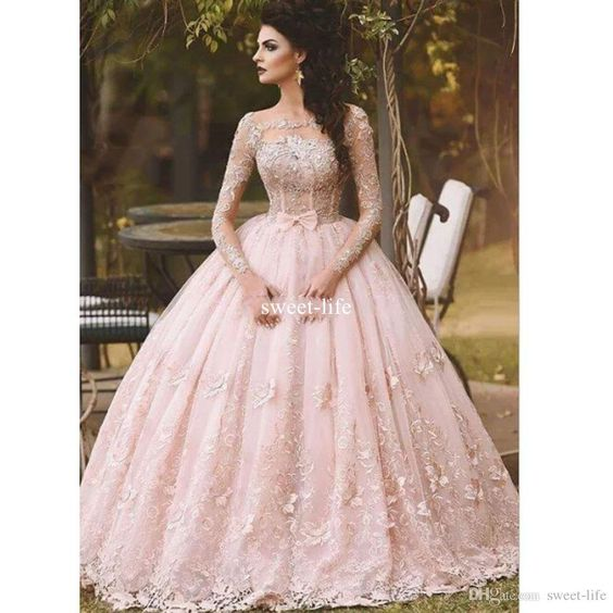 Pink 2017 Ball Gown Prom Dresses Scoop Long Sleeve Illusion Full Lace Appliqued Tulle Tiered Skirts Floor Length Quinceanera Dresses