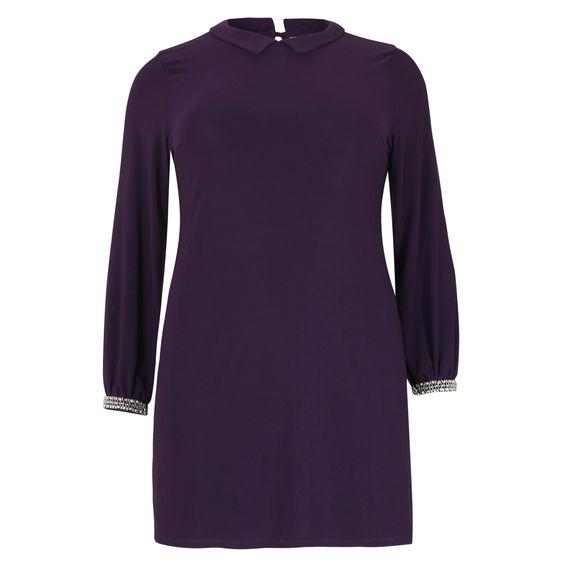 Tunika mit Strassärmeln & Bubiykragen <3 Embellished Cuff Tunic Dress   | Übergröße - XXL-Mode - Plus Size - Große Größen - Molly - Fashion - Kleidung