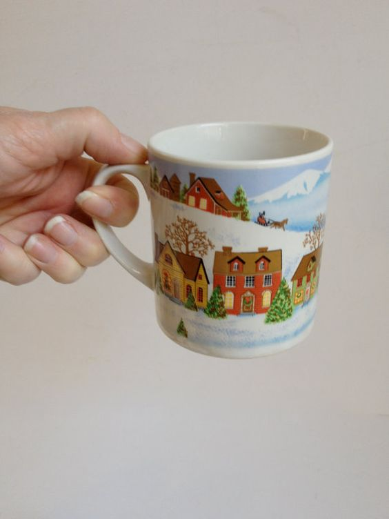 Holiday Mugs : Village Winter Scene vintage by 1006Osage on Etsy