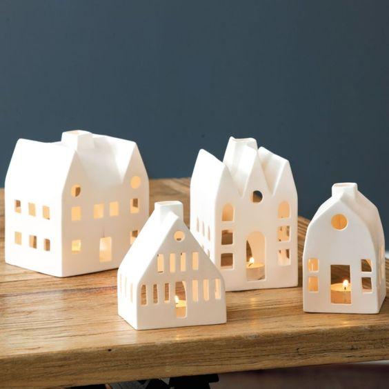 Village Luminary | Ballard Designs: Build House, Ballard Design Christmas, Ceramic Christmas Decoration, Christmas Villages, Holiday Table, Art Houses, Ceramic Houses Pottery, Ballard Designs, Manor House