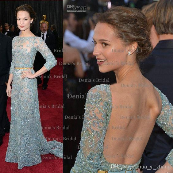 Dresses 2013 Sexy 85th Oscar Awards Alicia Vikander Long Sleeves Backless Sequins Tulle Celebrity Dresses With Appliques And Beaded Dhyz 01 Red Carpet Red Dresses From Hua_yi_zhang, $269.36| Dhgate.Com
