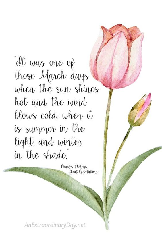 8x10 Spring Printable QUOTE from Charles Dickens on March to download for personal use *ONLY* - AnExtraordinaryDay.net