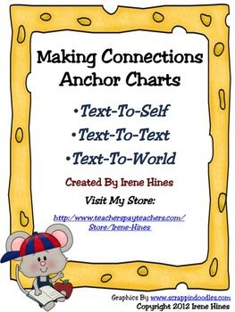 FREEBIE: A Free Set Of Making Connections Anchor Charts ~Text-To-Self~Text-To-Text~Text-To-World...