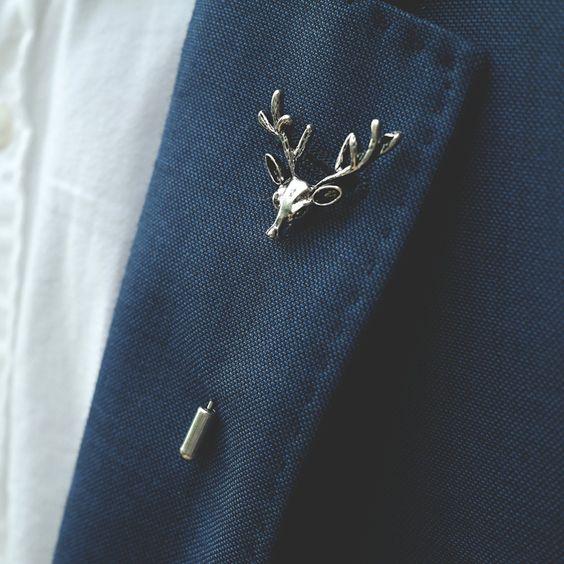 Men's lapel pin Stick pin Deer | Etsy